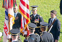United States President Barack Obama and Prime Minister Matteo Renzi of Italy review the troops during an Official Arrival Ceremony in the Prime Minister's honor on the South Lawn of the the White House in Washington, DC on Tuesday, October 18, 2016. <br /> Credit: Ron Sachs / CNP /MediaPunch