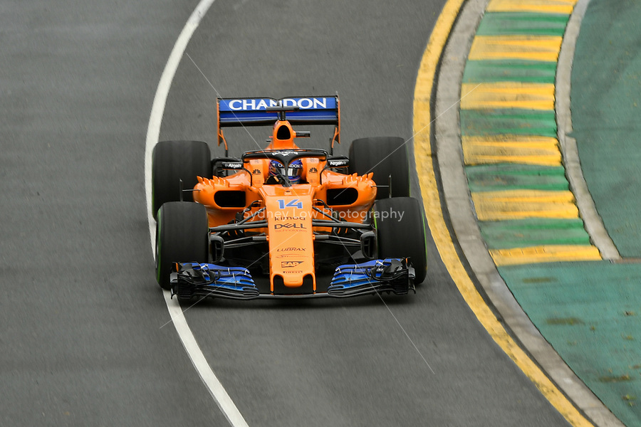 March 24, 2018: Fernando Alonso (ESP) #14 from the McLaren F1 team during practice session three at the 2018 Australian Formula One Grand Prix at Albert Park, Melbourne, Australia. Photo Sydney Low