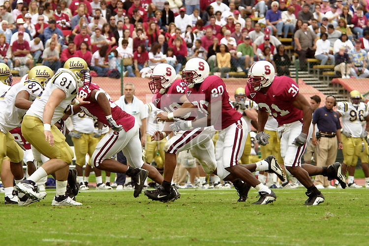 Jared Newberry, Colin Branch and Gary Cobb during Stanford's win over UCLA on October 27, 2001 at Stanford Stadium.<br />