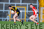 Daithí Casey Dr Crokes in action against Cian Ó Murchú West Kerry in the Kerry Senior Football Championship Semi Final at Fitzgerald Stadium on Saturday.