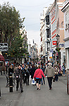 Shoppers in Main Street, Gibraltar, British terroritory in southern Europe