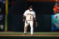 SAN FRANCISCO - APRIL 9:  Pablo Sandoval of the San Francisco Giants blows a bubble while playing defense at third base during the game between the Atlanta Braves and the San Francisco Giants on Friday, April 9, 2010, at AT&T Park in San Francisco, California.  The Giants defeated the Braves 5-4.  (Photo by Brad Mangin)