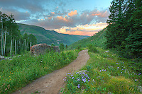 On a trial near Vail, Colorado, we hit the path early to make our way to Booth Falls and Lake, the latter being a 10 mile round-trip. This Colorado image was taken at sunrise just a mile or so up the trail.