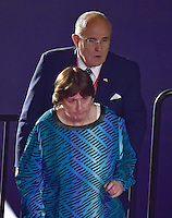 Former New York City Mayor Rudy Giuliani (Republican of New York) shows rape victim Kathy Shelton to her seat prior to former United States Secretary of State Hillary Clinton, the Democratic Party nominee for President of the US and businessman Donald J. Trump, the Republican Party candidate for President of the US, appearing in the second of three presidential general election debates at Washington University in St. Louis, Missouri on Sunday, October 8, 2016.<br />