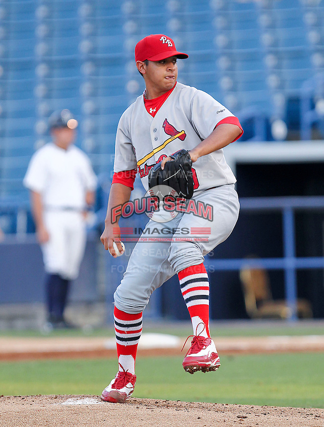 May 20, 2010 Starting Pitcher Arquimedes Nieto of the Palm Beach Cardinals, Florida State League Class-A affiliate of the St.Louis Cardinals, delivers a pitch during a game at George M. Steinbrenner Field in Tampa, FL. Photo by: Mark LoMoglio/Four Seam Images