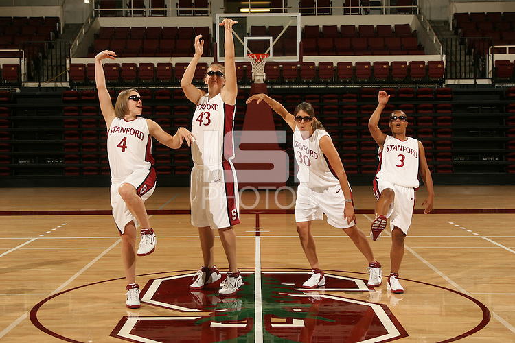 10 October 2006: Seniors Clare Bodensteiner, Kristen Newlin, Brooke Smith, and Markisha Coleman on picture day at Maples Pavilion in Stanford, CA.