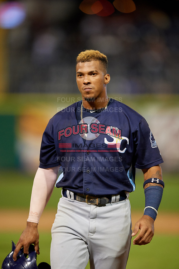Charlotte Stone Crabs Wander Franco (1) during a Florida State League game against the Clearwater Beach Dogs on July 26, 2019 at Spectrum Field in Clearwater, Florida.  Clearwater defeated Charlotte 6-5.  (Mike Janes/Four Seam Images)