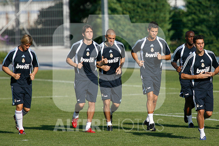 Real Madrid's Cristiano Ronaldo (r), Karim Benzema (c) and Kaka (l) during training sesion. August 04 2009. (ALTERPHOTOS/Acero).