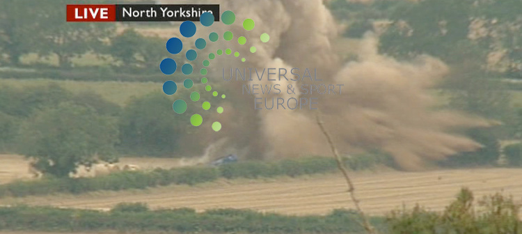 Two villages in North Yorkshire were evacuated on Tuesday afternoon after the discovery of a 500lb bomb. It was found in a field in Ebberston where a bomber crashed during the Second World War. It was eventually detonated safely...Picture: 18 August 2009: Universal News and Sport (Scotland)/BBC.All pictures must be credited to  www.universalnewsandsport.com.(0ffice) 0844 884 51 22. (Universal News does not claim any Copyright or License in the attached material. Any downloading fee charged by Universal News and Sport is for Universal News services only. We are advised that videograbs should not be used more than 48 hours after the time of original transmission, without the consent of the copyright holder). .