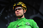Green Jersey leader Wout Van Aert (BEL) Team Jumbo-Visma at sign on before Stage 6 of the Criterium du Dauphine 2019, running 229km from Saint-Vulbas - Plaine de l'Ain to Saint-Michel-de-Maurienne, France. 14th June 2019.<br /> Picture: ASO/Alex Broadway | Cyclefile<br /> All photos usage must carry mandatory copyright credit (© Cyclefile | ASO/Alex Broadway)