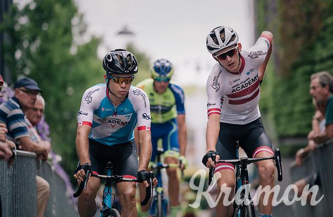 Guillaume Boivin (CAN/Israel Cycling Academy) & (eventual race winner) Krists Neilands (LAT/Israel Cycling Academy) to the start<br /> <br /> 3rd Dwars Door Het hageland 2018 (BEL)<br /> 1 day race:  Aarschot > Diest: 198km