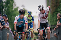 Guillaume Boivin (CAN/Israel Cycling Academy) & (eventual race winner) Krists Neilands (LAT/Israel Cycling Academy) to the start<br /> <br /> 3rd Dwars Door Het hageland 2018 (BEL)<br /> 1 day race:  Aarschot > Diest: 198km