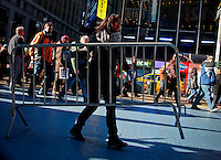 People work on setting up lights and stage in Times Square for New Year Eve 2012 celebrations in New York City. 12/29/11.  Photo by Kena Betancur / VIEWpress.