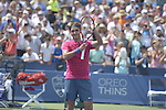 Roger Federer (SUI) takes the first set against Novak Djokovic (SRB) 7-6 at the Western and Southern Open in Mason, OH on August 23, 2015.