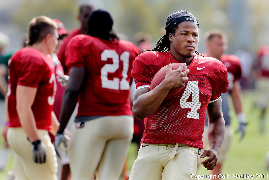 TALLAHASSEE, FLA. 3/26/11-FSU032611 CH-Florida State's Devontra Freeman runs through a play during practice Saturday in Tallahassee..COLIN HACKLEY PHOTO