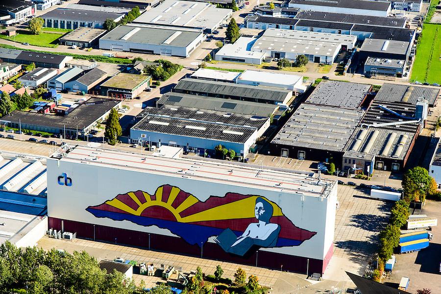 Nederland, Gelderland, Neder-Betuwe, 30-09-2015;  Centraal Boekhuis (CB),  Culemborg. Logistiek dienstverlener.<br /> Warehouse logistics service Culemborg.<br /> luchtfoto (toeslag op standaard tarieven);<br /> aerial photo (additional fee required); copyright foto/photo Siebe Swart. <br /> <br /> luchtfoto (toeslag op standard tarieven);<br /> aerial photo (additional fee required);<br /> copyright foto/photo Siebe Swart