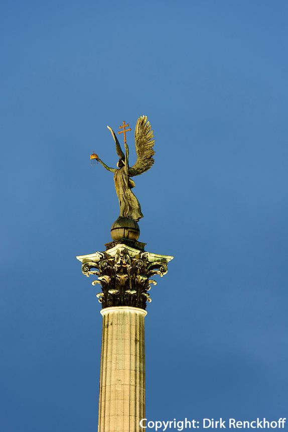 Milleniumsdenkmal am Heldenplatz Hösök tere, Budapest, Ungarn, UNESCO-Weltkulturerbe