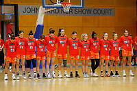 29th November 2019; Bendat Basketball Centre, Perth, Western Australia, Australia; Womens National Basketball League Australia, Perth Lynx versus Southside Flyers; Perth Lynx players line up for the National Anthem - Editorial Use