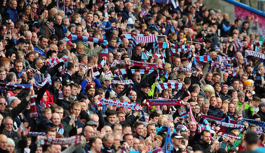 Burnley fans before kick off<br /> <br /> Photographer Chris Vaughan/CameraSport<br /> <br /> Football - Barclays Premiership - Burnley v Leicester City - Saturday 25th April 2015 - Turf Moor - Burnley<br /> <br /> &copy; CameraSport - 43 Linden Ave. Countesthorpe. Leicester. England. LE8 5PG - Tel: +44 (0) 116 277 4147 - admin@camerasport.com - www.camerasport.com