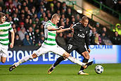 12th September 2017, Glasgow, Scotland; Champions League football, Glasgow Celtic versus Paris Saint Germain;  KYLIAN MBAPPE (psg) turns away from the tackle of Jozo Simunovic (cel)