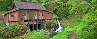Cedar Creek Grist Mill in spring with path. Woodland, Washington