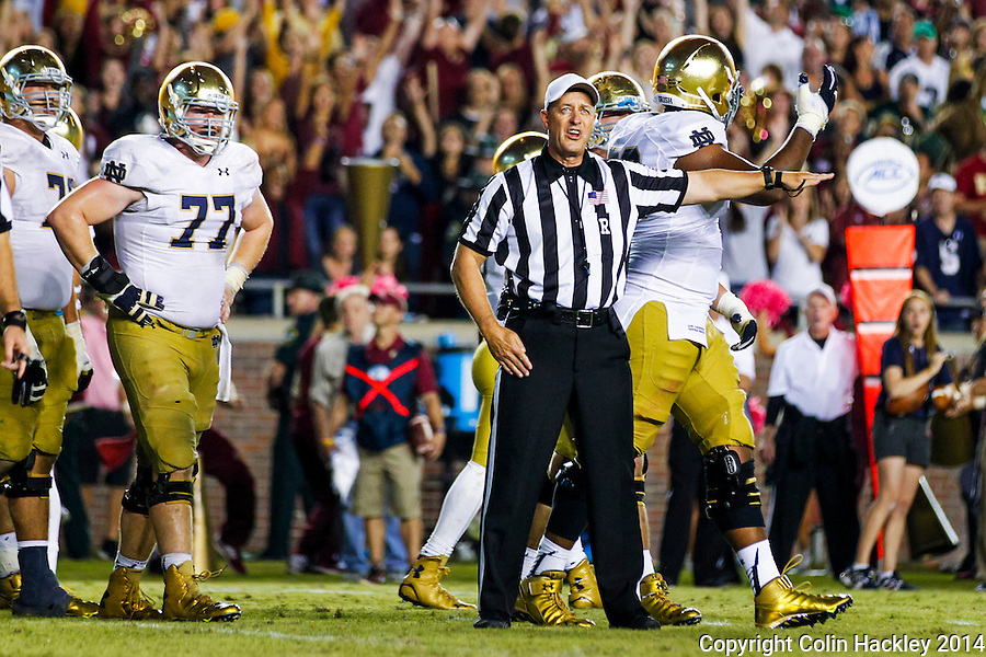 TALLAHASSEE, FLA. 10/18/14-FSU-ND101814CH-Notre Dame players react as Referee David Epperly calls back their touchdown that would have put them ahead late in fourth quarter action Saturday at Doak Campbell Stadium in Tallahassee. The Seminoles beat the Fighting Irish 31-27.<br /> COLIN HACKLEY PHOTO
