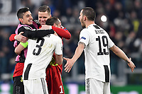 Wojciech Szscesny , Giorgio Chiellini and Leonardo Bonucci of Juventus celebrate at the end of the Uefa Champions League 2018/2019 round of 16 second leg football match between Juventus and Atletico Madrid at Juventus stadium, Turin, March, 12, 2019 <br />  Foto Andrea Staccioli / Insidefoto