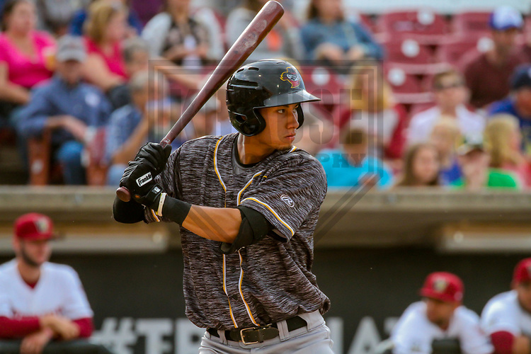 Quad Cities River Bandits first baseman Taylor Jones (46) during a Midwest League game against the Wisconsin Timber Rattlers on June 8, 2017 at Fox Cities Stadium in Appleton, Wisconsin.  Wisconsin defeated Quad Cities 8-3. (Brad Krause/Krause Sports Photography)