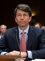 """Mark W. Begor, Chief Executive Officer, Equifax, Inc., waits to begin testimony before the United States Senate Committee on Homeland Security and Governmental Affairs Permanent Subcommittee on Investigations during a hearing on """"Examining Private Sector Data Breaches"""" on Capitol Hill in Washington, DC on Thursday, March 7, 2019.<br /> Credit: Ron Sachs / CNP/AdMedia"""