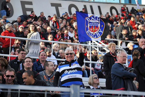 A general view of a Bath Rugby supporter. European Rugby Champions Cup match, between RC Toulon and Bath Rugby on January 10, 2016 at the Stade Mayol in Toulon, France. Photo by: Patrick Khachfe / Onside Images