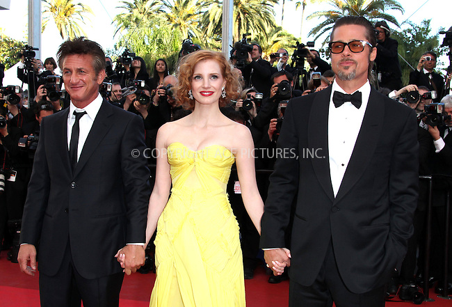 """WWW.ACEPIXS.COM . . . . .  ..... . . . . US SALES ONLY . . . . .....May 16 2011, Cannes....Sean Penn, Jessica Chastain and Brad Pitt at the premiere of """"The Tree Of Life"""" at the Cannes Film Festival on May 16 2011 in Cannes, France....Please byline: FAMOUS-ACE PICTURES... . . . .  ....Ace Pictures, Inc:  ..Tel: (212) 243-8787..e-mail: info@acepixs.com..web: http://www.acepixs.com"""