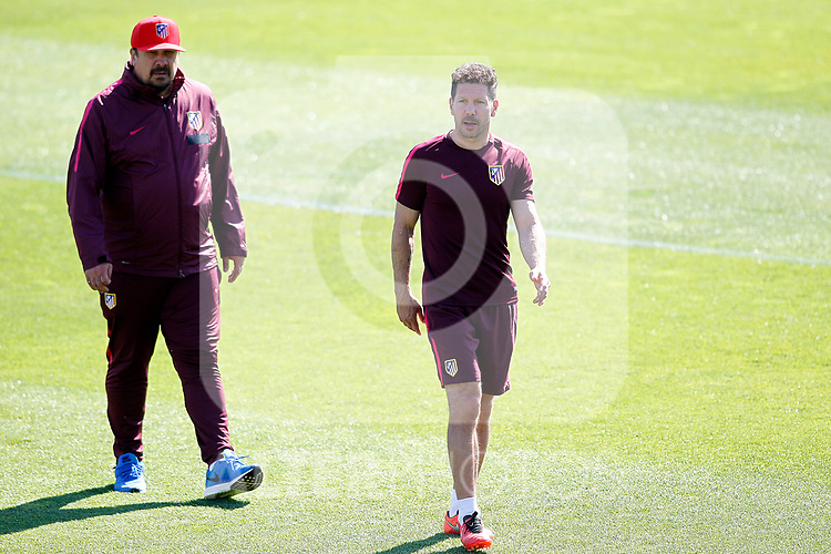Atletico de Madrid's coach Diego Pablo Cholo Simeone (r) with his second German Mono Burgos during training session. April 11,2017.(ALTERPHOTOS/Acero)