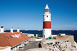 Red and white striped lighthouse at Europa Point, Gibraltar, British terroritory in southern Spain