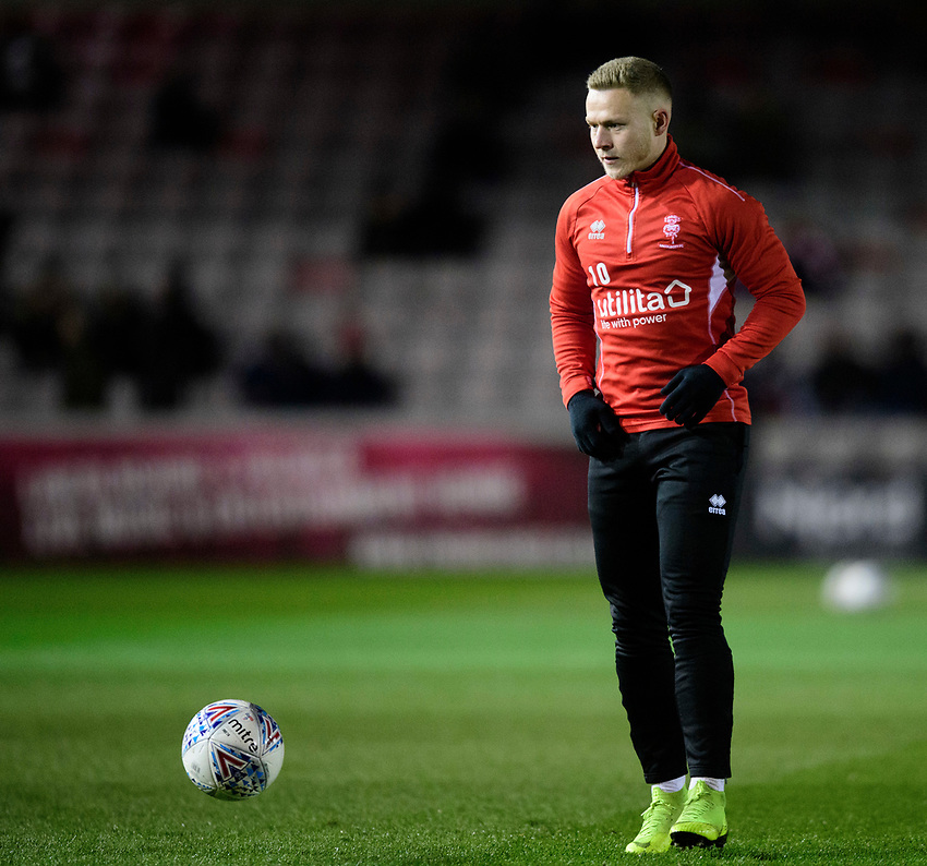 Lincoln City's Danny Rowe during the pre-match warm-up<br /> <br /> Photographer Chris Vaughan/CameraSport<br /> <br /> The EFL Sky Bet League Two - Lincoln City v Yeovil Town - Friday 8th March 2019 - Sincil Bank - Lincoln<br /> <br /> World Copyright © 2019 CameraSport. All rights reserved. 43 Linden Ave. Countesthorpe. Leicester. England. LE8 5PG - Tel: +44 (0) 116 277 4147 - admin@camerasport.com - www.camerasport.com