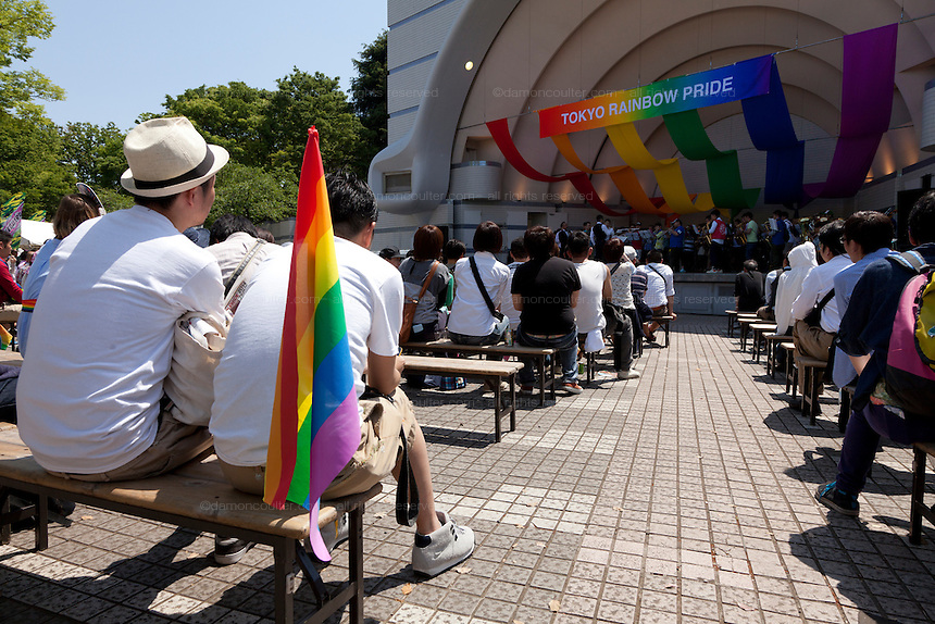 Yoyogi Park Event stage during Tokyo Rainbow Pride festival, Yoyogi Park, Tokyo, Japan. Sunday April 27th 2014 This was the third year this annual gay-pride event has been held in Japan capital.with food, fashion and health care stalls and musical performances set up in Yoyogi Park event square and a colourful parade around Shibuya at 1pm.