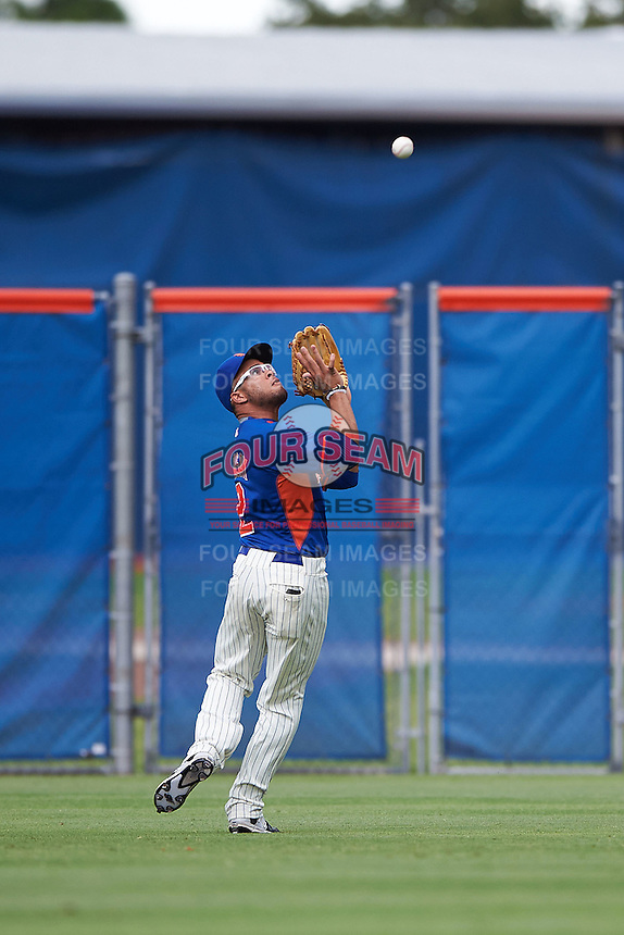 GCL Mets outfielder Desmond Lindsay (2) catches a fly ball during the second game of a doubleheader against the GCL Marlins on July 24, 2015 at the St. Lucie Sports Complex in St. Lucie, Florida.  The game was suspended in the first inning due to rain.  (Mike Janes/Four Seam Images)