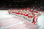 "Wisconsin Badgers teammates line up and sing ""Varsity"" after an NCAA college women's hockey game against the Minnesota Golden Gophers Saturday, February 15, 2014 in Madison, Wis. The Golden Gophers won 4-0. (Photo by David Stluka)"