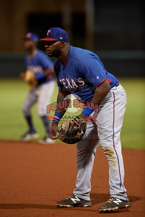 AZL Rangers first baseman Tyreque Reed (5) rehabs during an Arizona League game against the AZL Dodgers Mota at Camelback Ranch on June 18, 2019 in Glendale, Arizona. AZL Dodgers Mota defeated AZL Rangers 13-4. (Zachary Lucy/Four Seam Images)