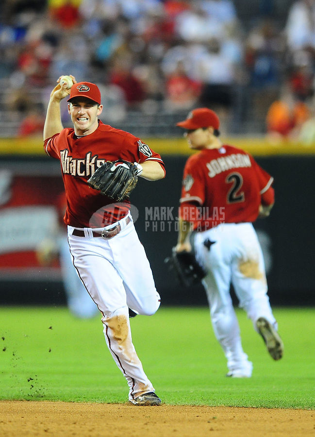 Jul. 11, 2010; Phoenix, AZ, USA; Arizona Diamondbacks shortstop Stephen Drew against the Florida Marlins at Chase Field. Mandatory Credit: Mark J. Rebilas-