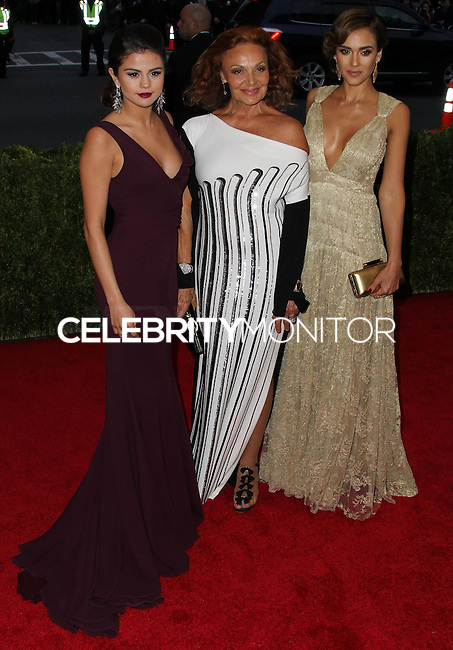 "NEW YORK CITY, NY, USA - MAY 05: Selena Gomez, Diane Von Furstenberg, Jessica Alba at the ""Charles James: Beyond Fashion"" Costume Institute Gala held at the Metropolitan Museum of Art on May 5, 2014 in New York City, New York, United States. (Photo by Xavier Collin/Celebrity Monitor)"