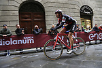 Stefan Kung (SUI) BMC Racing Team summits the final brutal climb of Via Santa Caterina in Siena during the 2017 Strade Bianche running 175km from Siena to Siena, Tuscany, Italy 4th March 2017.<br /> Picture: Eoin Clarke | Newsfile<br /> <br /> <br /> All photos usage must carry mandatory copyright credit (&copy; Newsfile | Eoin Clarke)