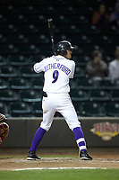 Blake Rutherford (9) of the Winston-Salem Dash at bat against the Salem Red Sox at BB&T Ballpark on April 20, 2018 in Winston-Salem, North Carolina.  The Red Sox defeated the Dash 10-3.  (Brian Westerholt/Four Seam Images)
