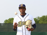 Burlington Bees pitcher Jose Soriano (23) poses for a photo before a Midwest League game against the Quad Cities River Bandits on May 31, 2019 at Community Field in Burlington, Iowa.  Quad Cities defeated Burlington 13-10.  (Travis Berg/Four Seam Images)