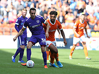 Portsmouth's Brandon Haunstrup shields the ball from Blackpool's Joe Nuttall<br /> <br /> Photographer Stephen White/CameraSport<br /> <br /> The EFL Sky Bet League One - Blackpool v Portsmouth - Saturday 31st August 2019 - Bloomfield Road - Blackpool<br /> <br /> World Copyright © 2019 CameraSport. All rights reserved. 43 Linden Ave. Countesthorpe. Leicester. England. LE8 5PG - Tel: +44 (0) 116 277 4147 - admin@camerasport.com - www.camerasport.com