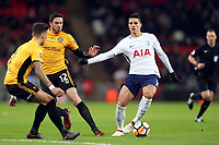 Erik Lamela of Tottenham Hotspur and Ben Tozer of Newport County during Tottenham Hotspur vs Newport County, Emirates FA Cup Football at Wembley Stadium on 7th February 2018
