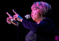 CLEVELAND - MAY 14:  Mavis Staples performs during the Rock and Roll Hall of Fame 'It's Only Rock And Roll' benefit concert and Women Who Rock exhibit opening concert at the Cleveland Convention Center on Saturday May 14, 2011 in Cleveland, Ohio.  (Photo by Jared Wickerham/Jared Wickerham/Getty Images for Rock and Roll Hall of Fame and Museum)