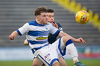 1st February 2020; Cappielow Park, Greenock, Inverclyde, Scotland; Scottish Championship Football, Greenock Morton versus Dundee Football Club; Nicky Cadden of Greenock Morton challenges for the ball with Cammy Kerr of Dundee