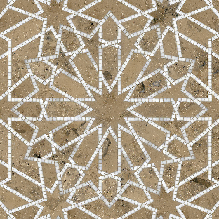 Castilla, a waterjet and hand-cut stone mosaic, shown in honed Jura Grey and polished Calacatta Tia is part of the Miraflores Collection by Paul Schatz for New Ravenna.<br /> <br /> For pricing samples and design help, click here: http://www.newravenna.com/showrooms/