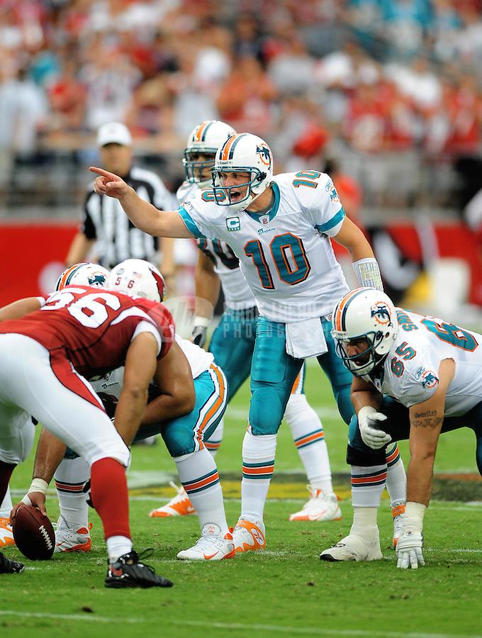 Sept. 14, 2008; Glendale, AZ, USA; Miami Dolphins quarterback (10) Chad Pennington against the Arizona Cardinals at University of Phoenix Stadium. Arizona defeated Miami 31-10. Mandatory Credit: Mark J. Rebilas-