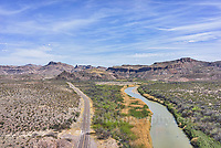 River road paralles the Rio Grande in Big Bend State Park.